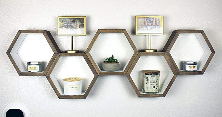 Rustic Hexagon Shelf - Floating Geometric Shelves - Honeycomb Storage - Wall Cubby - Mid Century Modern - Set of 5 Small Hexagons