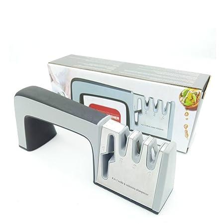 Profesional Afilador de cuchillos y tijeras, 4 en 1 cuchillo acero ...