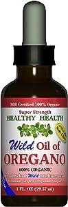 Oregano Oil - Wild Mediterranean - ECO Certified Organic Super Strength 86% Carvacrol, Healthy-Health's All Natural Food Grade Oil of Oregano, Non GMO 1 fl. Oz