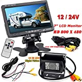 "12V-24V 7"" Car TFT LCD Screen HD Monitor + Bus Truck Trailers 18LEDs IR Night Vision Waterproof Rear View Reversing Backup Camera with 10M video Cable"