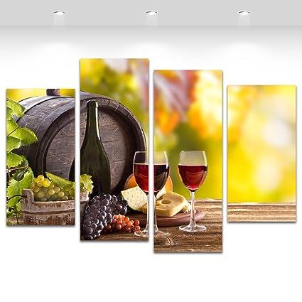 4 Panel pared arte vino barril de uva lienzo pintura impreso hogar ...