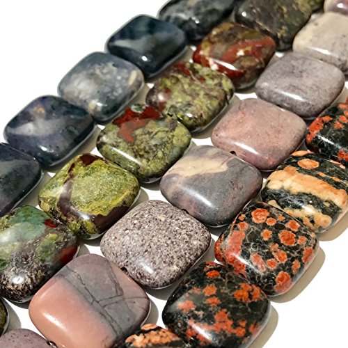 [ABCgems] Rare Purple Dumortierite, Dragon Blood Jasper, Red Snowflake Jasper, Porcelain Jasper (4 Strands Lot) 14mm Square Beads. Each Strand 8