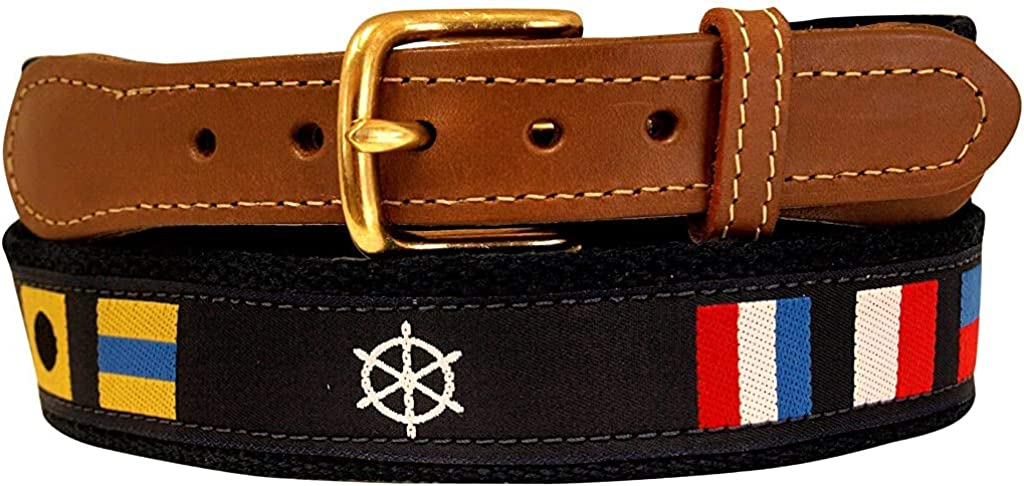 Nautical Belts, Code Flag and Ships Wheel on Navy Webbing