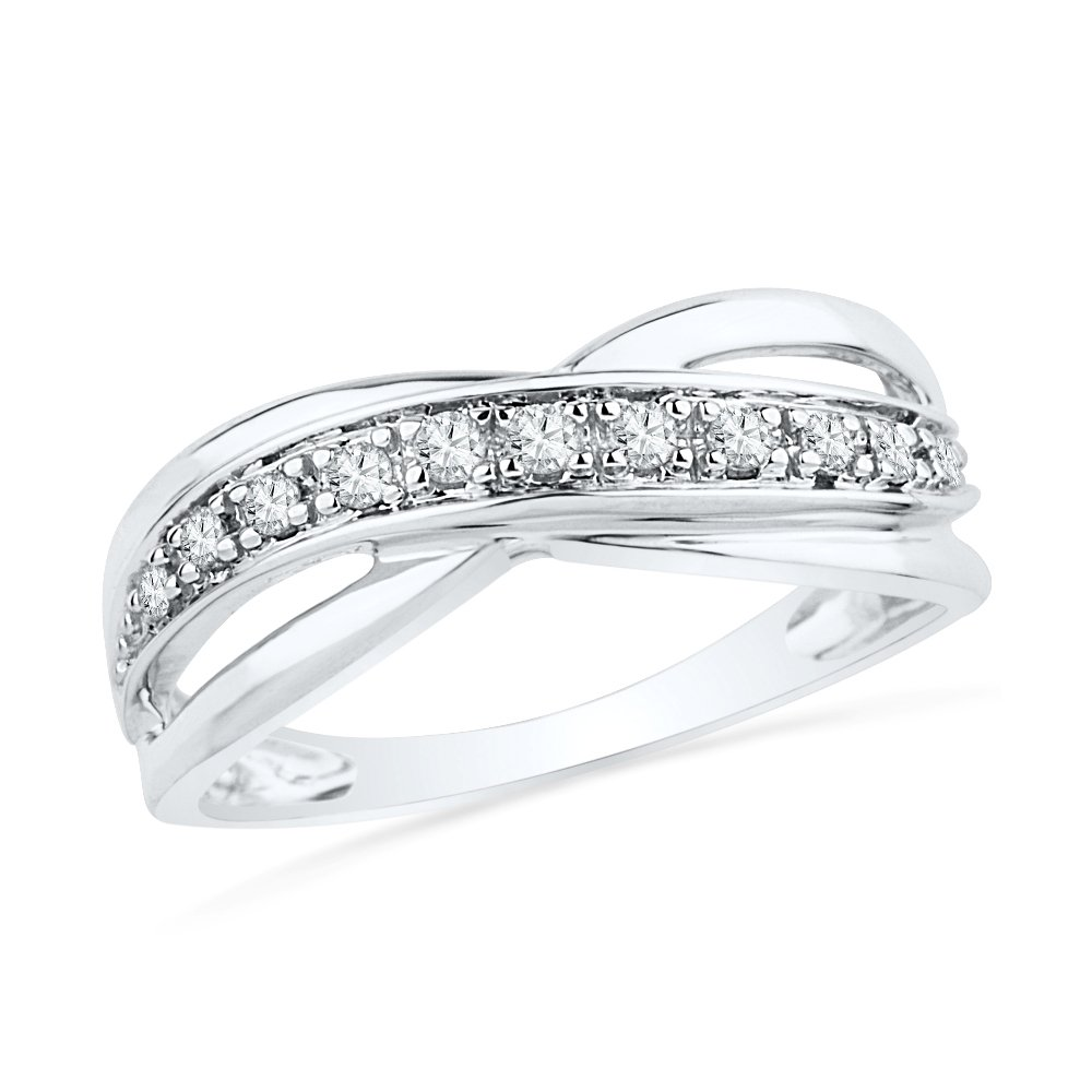 Sterling Silver Round Diamond Twisted Fashion Ring (1/6 cttw)