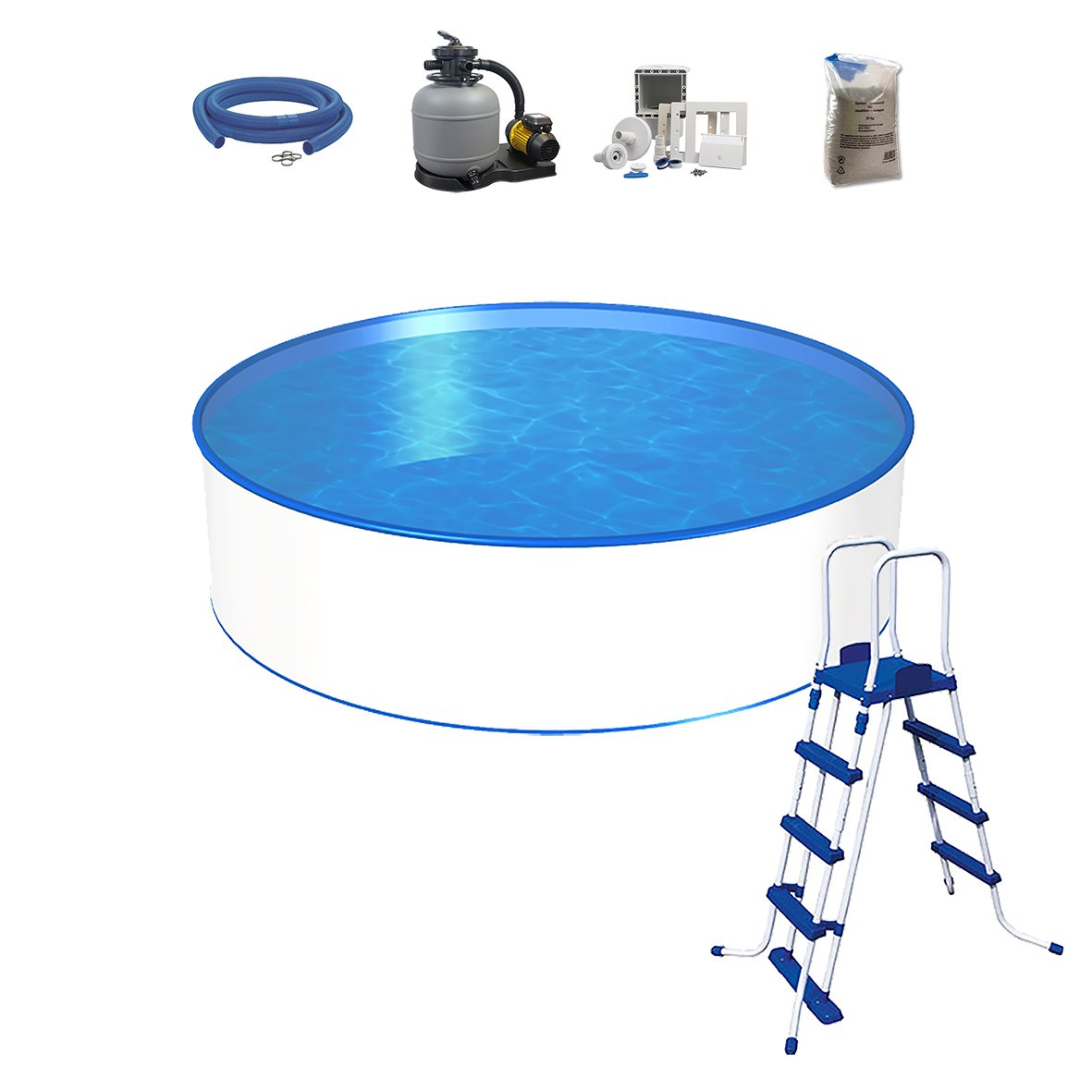 Pool Set, tamaño a elegir, profundidad 120 cm, piscina con pared ...