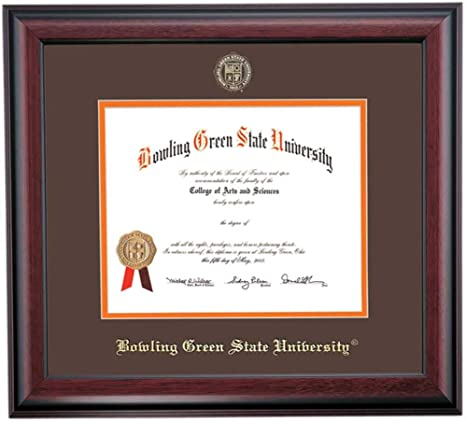 Amazon Com Ocm Diploma Frames Bowling Green State University Falcon Displays Diploma Certificate 8 5 X 11 Brown Orange Mat Home Office Office Professional Education Framed Diploma Wall Decor