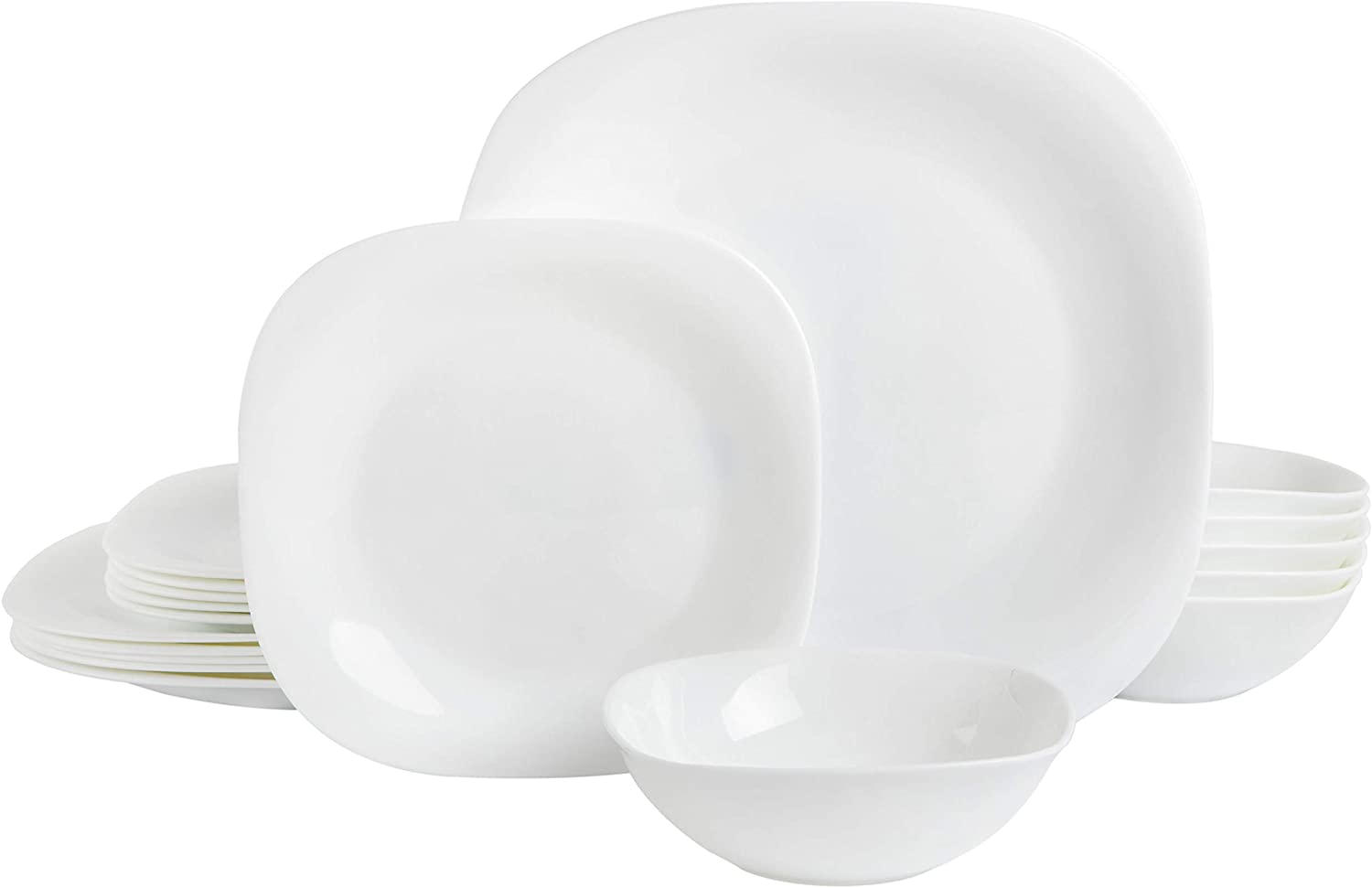 Gibson Home Ultra Break-Resistant Dinnerware Sets, Square: Service for 6 (18pcs), Opal Glass