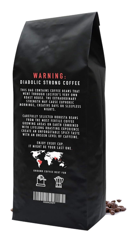 LUCIFERS ROAST Espresso de KIQO de Italia - 1kg café extremadamente fuerte - bajo en ácido - 100% Robusta - tostado a mano en lotes pequeños (grano ...