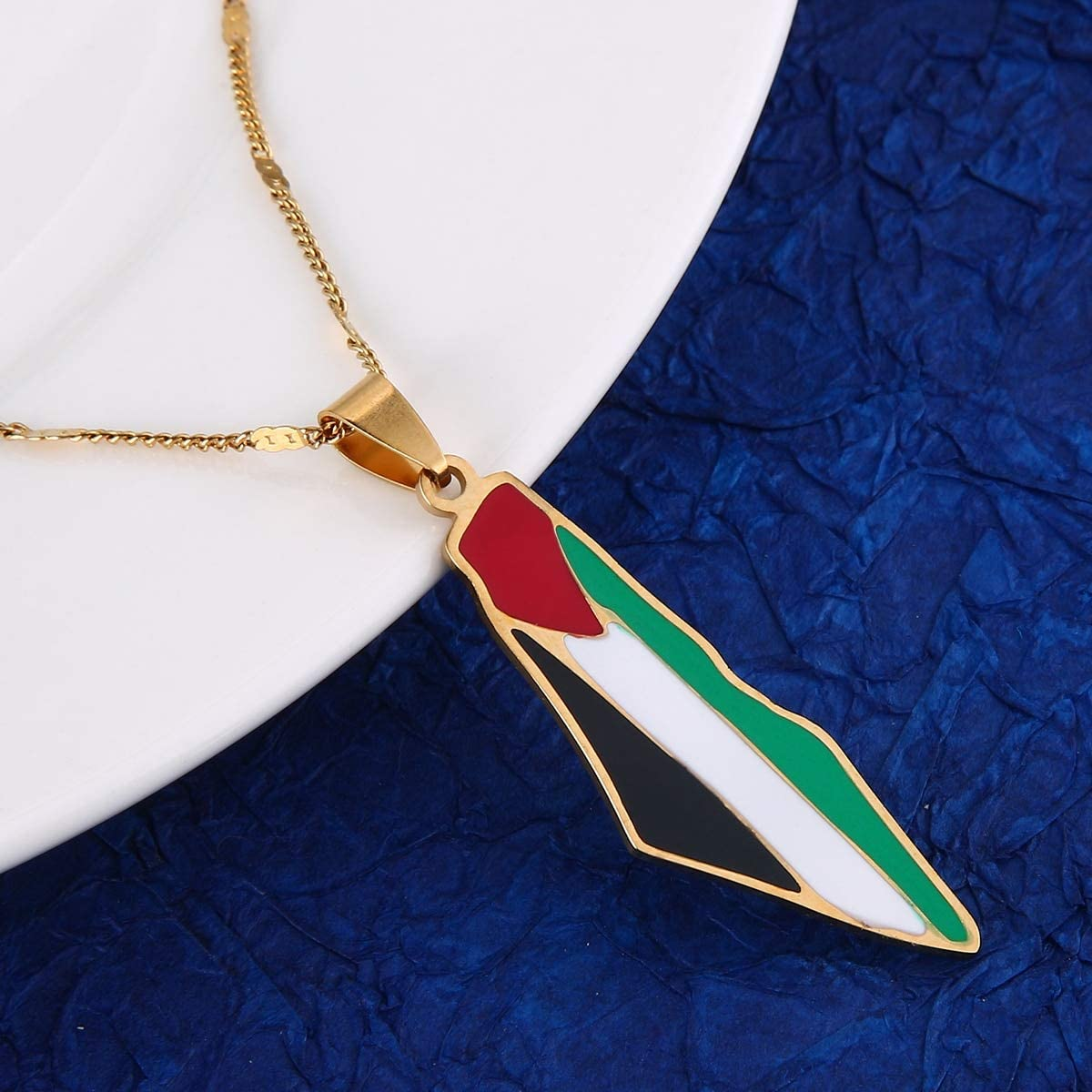 SWAOOS Stainless Steel Palestine Map Pendant Necklace Enamel Jewish Jewelry Israel Map Fashion Jewelry