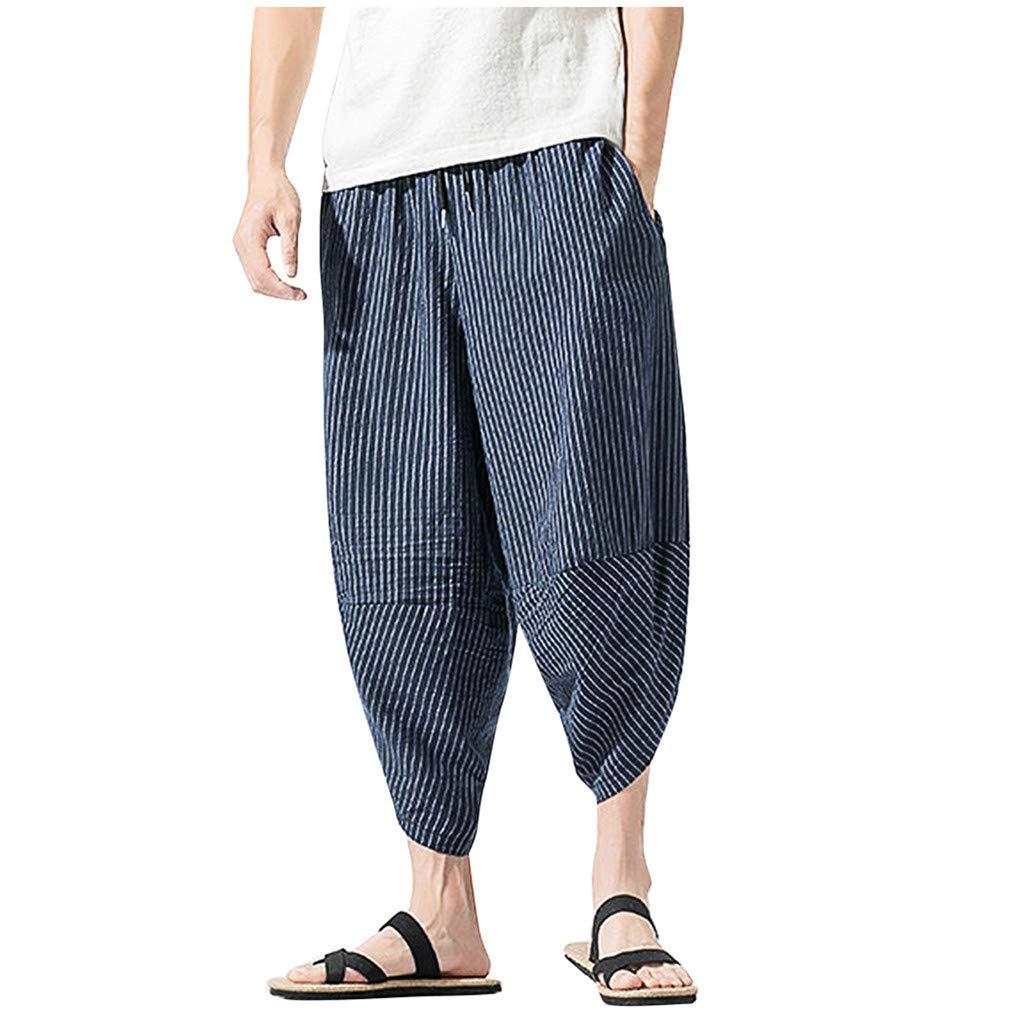 Allywit M-5XL Summer Men Casual Harem Pants Jogger Stripe Fitness Trousers Capri Linen Loose Pants Navy