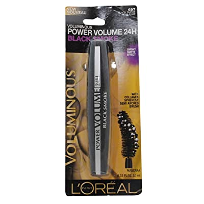 (3 Pack) L'Oreal Paris Voluminous Power Volume 24H Mascara, 697 Black Smoke, 0.33 Fluid Ounce each