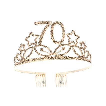Beaupretty Corona Cumpleaños 70 Años Diadema Cumpleaños ...