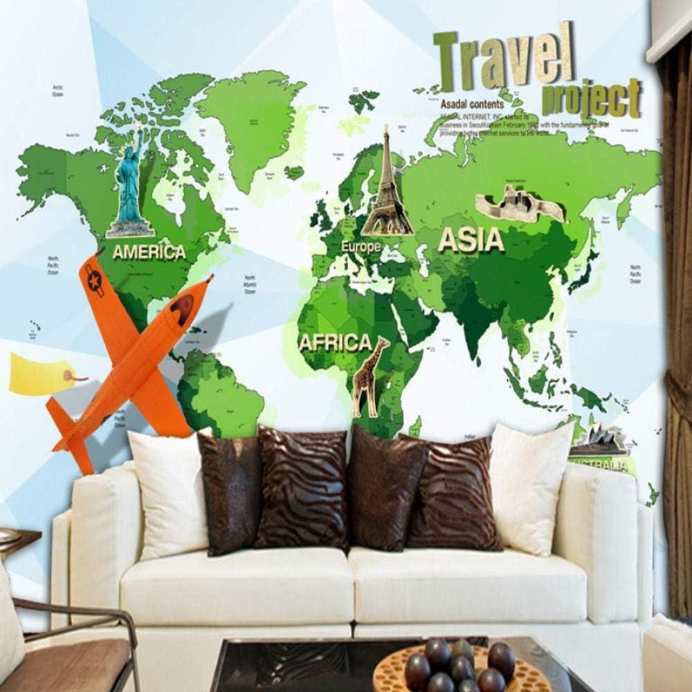 Bomdow Papel Tapiz Fotográfico Mapa Del Mundo De Dibujos Animados Avión Mural De Viaje Habitación De Niños Fondo De Cabecera Papel Tapiz Sala De Estar Mural Restaurante-150X120Cm