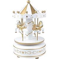 Buffer H65Yt1740E Nostaljik El Yapımı Atlı Karınca Müzik Kutusu, Altın Beyaz