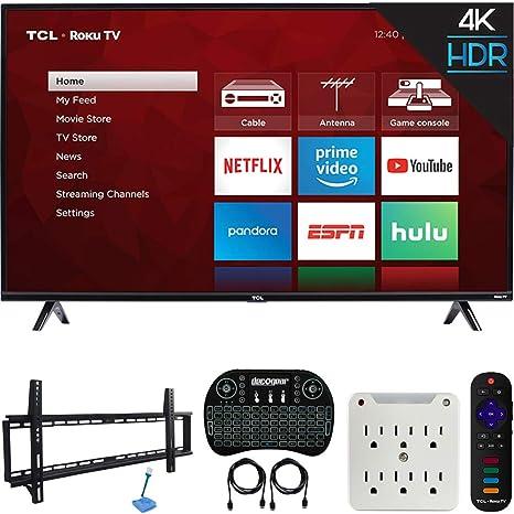TCL 55S425 Kit de 4 series 4K Ultra HD Roku Smart TV (modelo 2019) con kit de montaje de pared de perfil bajo de 37 a 70 pulgadas, teclado inalámbrico Deco Gear
