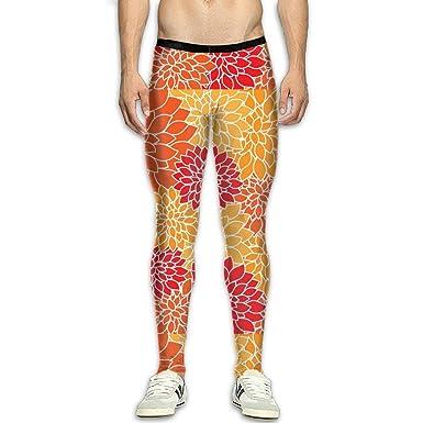 fd143f752797d Amazon.com: Orange Floral Mens Fitness Sports Compression Tights Pants:  Clothing