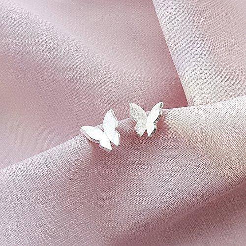 usongs Three-dimensional butterfly earrings s925 sterling silver earrings woman elegant Xian Qi Han Guosen line fresh and simple mini