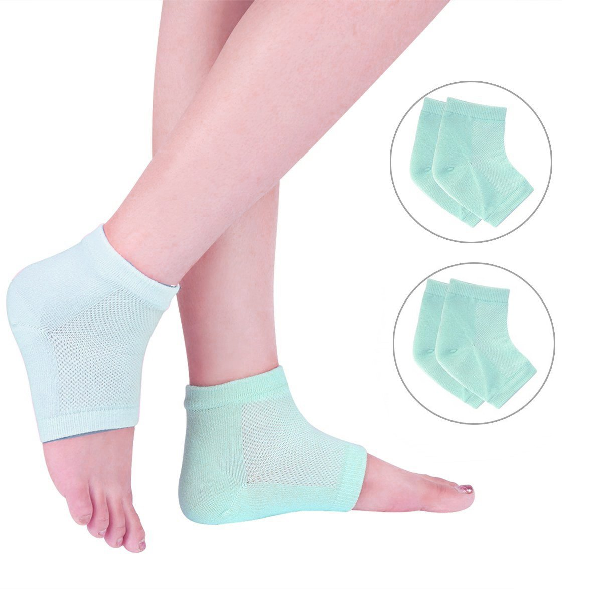 EXPER Vented Moisturizing Gel Heel Socks for Treatment Women Men's Dry Cracked Heels Skin Painful Ankle Gel Heel Sleeves Pack of 2 Pair (Green)