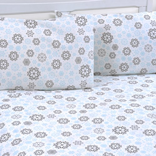 Mellanni 100% Cotton 4 Piece Printed Flannel Sheets Set - Deep Pocket - Warm - Super Soft - Breathable Bedding (Queen, Blue and Gray Snowflakes)