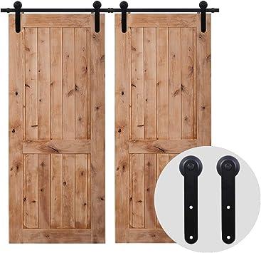 320cm/10.5FT Kit puerta granero herraje corredera,Puerta de Granero Corredera de Madera, Herraje para Puertas Corredizas Interiores,puerta doble: Amazon.es: Bricolaje y herramientas