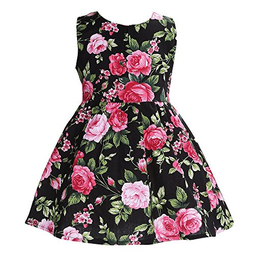 Fubin Kid Girl Floral Cotton Dresses Summer Clothes Size 6 Years Black (Kids Black Dresses)