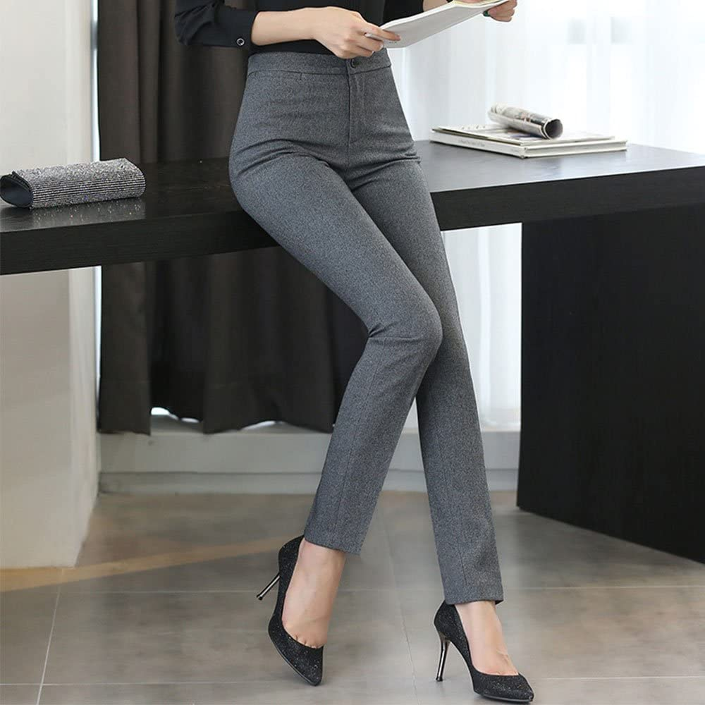 EVEDESIGN Womens Straight Stretch Office Dress Pants Slim Skinny Solid Business Trousers