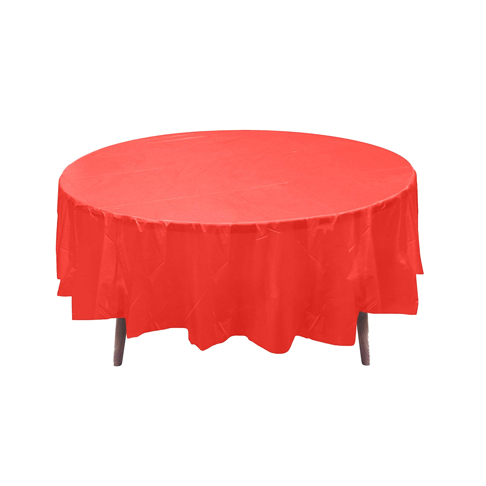 12 84'' Red Round Plastic Table Covers Tablecloths Disposable Party Picnic Table Decoration Supplies.