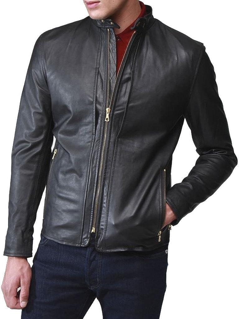 Stylish Men Biker Motorcycle Zipper Slim Fit Leather Casual Jacket KL242