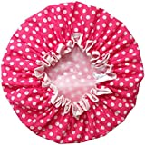 Huachnet Waterproof Double Layers Women's Shower Caps (Rose Dot)