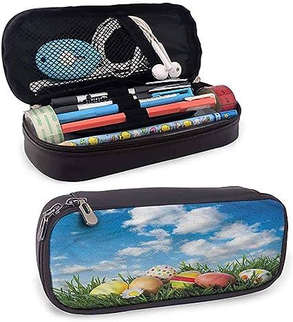 Estuche de lápices de cuero de Pascua Huevos sobre hierba Estuche de lápices abierto Skyline Almacenamiento Papelería: Amazon.es: Oficina y papelería