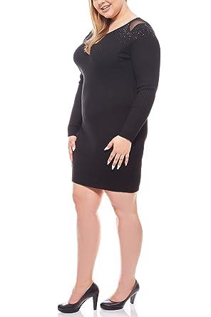 Melrose Kleid Strickkleid Mini Große Größen Rundhals Schwarz,  Größenauswahl 44  Amazon.de  Bekleidung 7406744e43