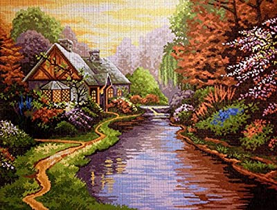 "Needlepoint Kit ""T. Kinkade lanscape"" 15.7""x11.8"" (40x30cm) printed canvas 255"