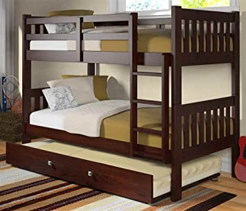 twin over twin bunk bed with twin trundle bed