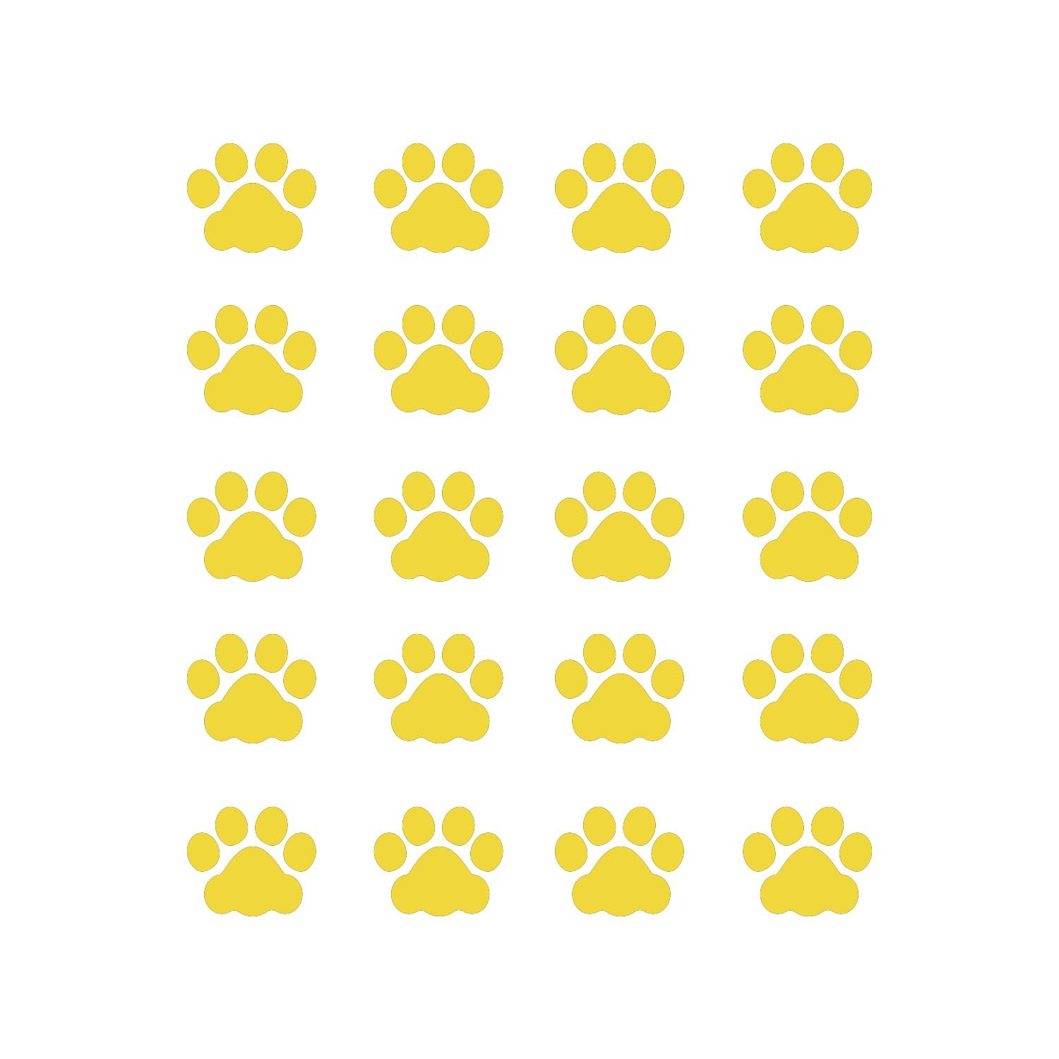 LiteMark 1 Inch Yellow Removable Cat Paw Prints Decal Stickers for Floors and Walls - Pack of 60
