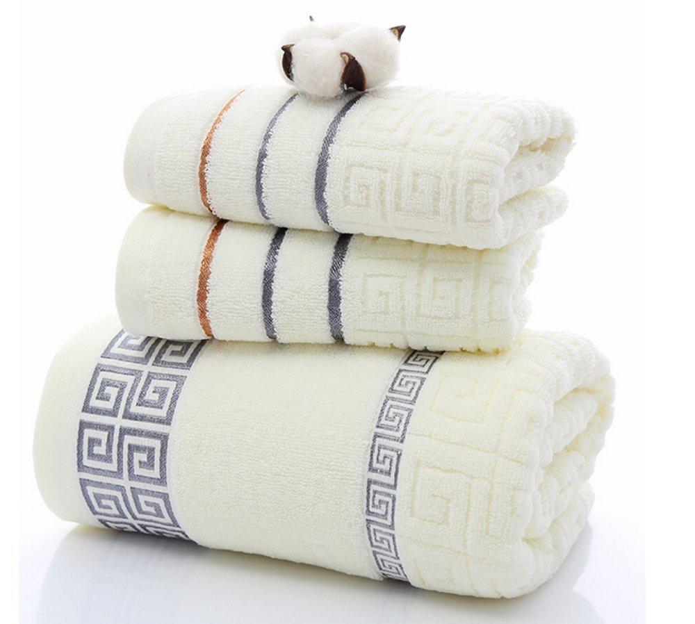koobea Microfibre Towel 3 Pieces Quick Dry Towel Bath Sheets Bath Towel Bale Face Cloth Bath Hand Towel Gift Set-White
