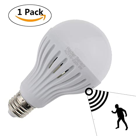 Escomdp 9W E27 Sensor activado por movimiento Sensor de luz LED con luz blanca fría Detección