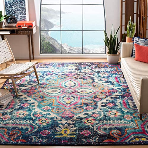 Safavieh Monaco Collection MNC252J Vintage Bohemian Medallion Distressed Blue and Fuchsia Pink Area Rug 6'7″ x 9'2″