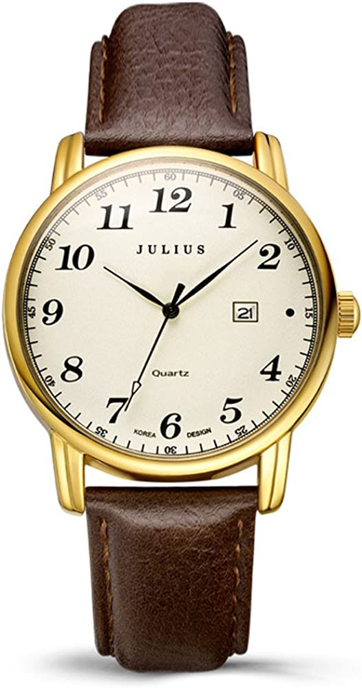 Julius JA-508 Male Gold Tone Arabic Numeral Quartz Analogue Display Fashion Casual Calendar Wrist Watch Men s Business Dress Waterproof Wristwatch