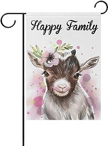 Tarity Cute Animal Goat Garden Flag Double Sided 12x18 Inch Yard Flag Festival Polyester Decorative Home Farmhouse Patio Outdoor Flags