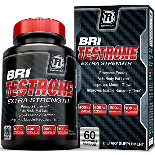BRI Testrone Maximum Strength Testosterone Booster for Men - Natural Strength, Stamina, Performance and Metabolism Booster for Healthy Fat Burning, Weight Loss and Muscle Gain (60 Vegetable Caps)