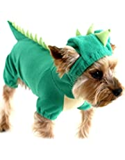 DELIFUR Dinosaur Dog Halloween Costume Pet Dino Hoodie for Small & Medium Dogs(Green, XL)