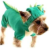 Cuteboom Dinosaur Dog Halloween Costume Pet Dino Hoodie for Small & Medium Dogs Green(XS)