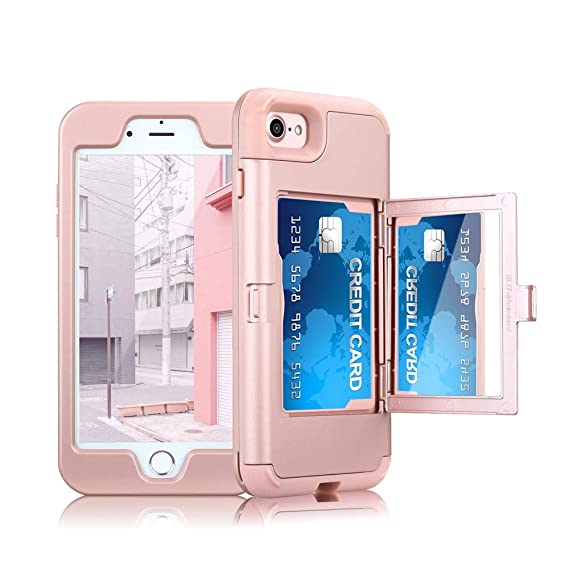 best service 20fc8 1eff8 ClarkCase iPhone 8 Case with Mirror Card Holder, lifeproof Heavy Duty  Protective Shockproof iPhone 7 Wallet Case Cover for Girls,Rose Gold