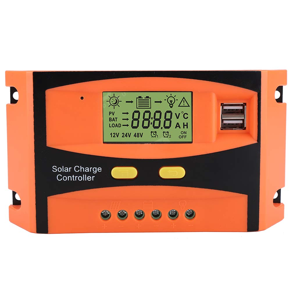 Akozon Solar Charge Controller PWM Smart Dual USB Waterproof Solar Panel Charge Controller Regulator LCD Display 12V 24V 30A