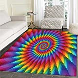 Trippy Area Silky Smooth Mats Psychedelic Rainbow Spiral in Vibrant Colors Circular Rainbow of Optical Illusion Home Decor Area Mat 4'x5' Multicolor