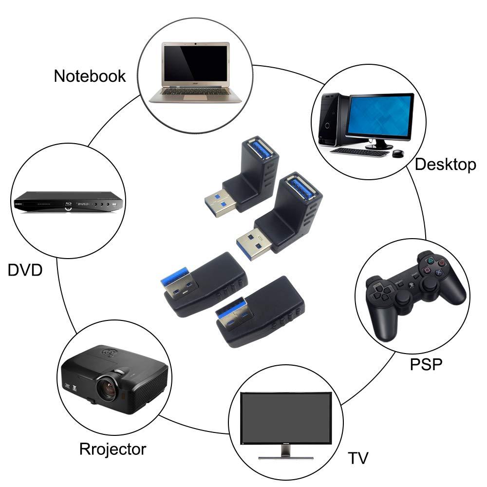 AFUNTA Conector USB de extensi/ón Adaptador Adaptador USB 3.0 de 4 Unidades y 2 adaptadores HDMI Macho a Hembra Conector de 90 y 270 Grados Conector HDMI