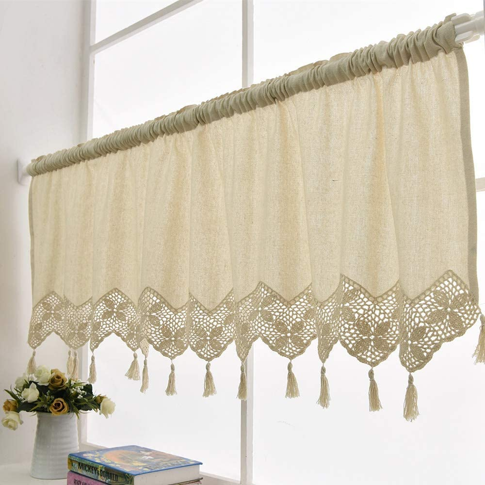 Hollow Floral Valances Hand Crochet Cotton Kitchen Cafe Curtains Beige Retro Style Valances with Tassels Decoration for Home Kitchen - 59 x 17 Inches