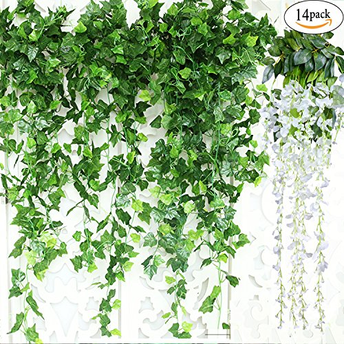 GuassLee Artificial Ivy Leaf Garland Plants Vine - 84 Ft-12 Pack Greenery Fake Foliage Garland Hanging with 2pcs Wisteria Vine Gift for Wedding Party Garden Home Kitchen Office Wall Decorations by GuassLee