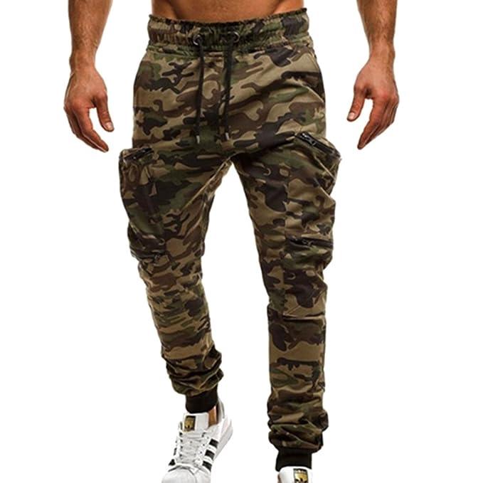 04ff8a25ab Highdas Hombre Deportivo Pantalones Fitness Jogging Running Pantalón Largos  Moda Casual Pantalones (Caqui
