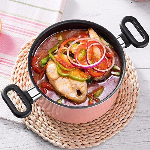 SDS-COM 20Cm Sopa Olla Cocina casera Avena Antiadherente Olla de Leche Olla pequeña Olla, Rosa: Amazon.es: Hogar